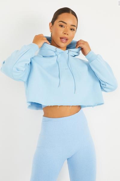 Blue Cropped Crown Hoodie